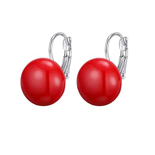 Pendientes Mujer Aro,Plata Simple Redondo Rojo Simulado Perla Colgante Pendientes De Aro Anillo De Aro Ligero Hipoalergénico Pendientes De Joyería Circular Para Mujeres Fiesta De Niñas Boda Rega