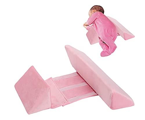 Almohada para dormir lateral para bebé, cuña ajustable para recién nacido, almohada antivuelco ajustable para bebé, cuña para dormir lateral para bebé con inclinación de 45 °, fácil de lavar (Rosado)