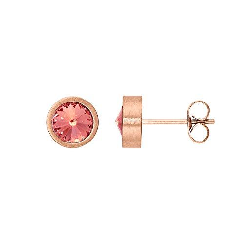 Heideman pendientes mujer de acero inoxidable color oro rosa Pendientes largos con piedra color rosa pálido