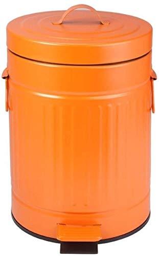 7 Liter Mülleimer Retro-Stil Haushalt Wohnzimmer Treteimer Orange Lila Kreative Badezimmer Recyclingbehälter Leicht zu reinigen (Farbe: Orange Größe: 12L)