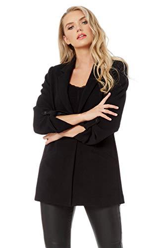 Roman Originals Vrouwen Oversized Ribbed Jacket - Dames Klassieke Smart Casual Formele Avond Werk Office Pak Turn Up Mouw Lange Knoop Getailleerde Longline Blazers Jassen