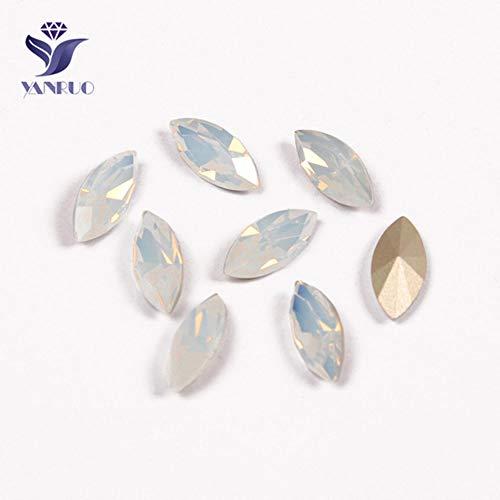 MFKW 4200 Navette top diamant op stenen naaien gouden kristallen voor zilveren klauwen jurken, witte opaal, met gouden klauwen