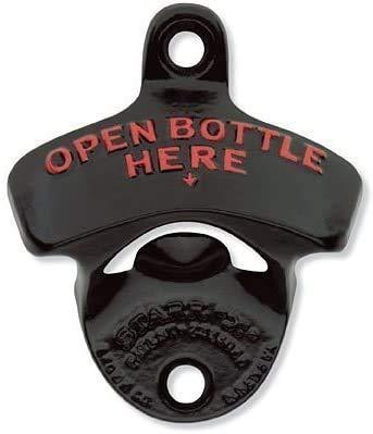 """Starr X-Flaschenöffner, pulverbeschichtet, rot geprägt, Aufschrift """"Open Bottle Here"""", stationärer Flaschenöffner"""