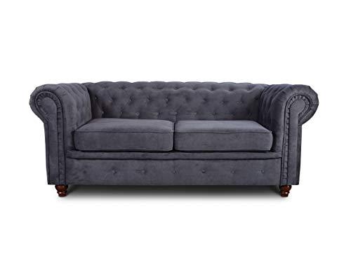 Sofa Chesterfield Asti 2-Sitzer, Couchgarnitur 2-er, Sofagarnitur, Couch mit Holzfüße, Polstersofa - Glamour Design (Graphit (Capri 16))