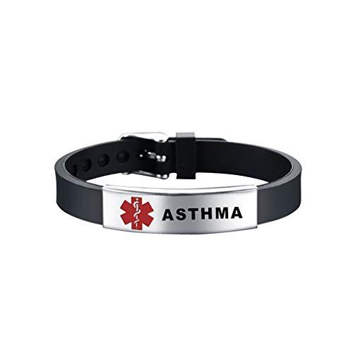 YO-HAPPY Manschettenarmband, Red Medical-Alert ID Armband Notfall Erste Hilfe Silikon Armband Unisex