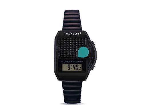Reloj de pulsera profesional de metal parlante reloj despertador, salida de voz, mensaje de tiempo, botón para discapacitación visual (negro)
