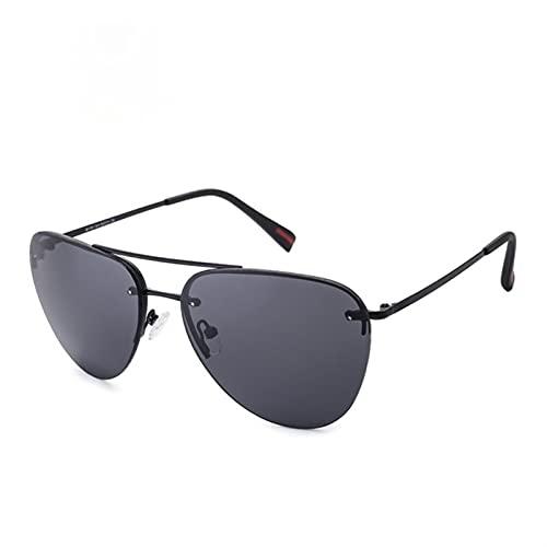 YSJJXTB Gafas de Sol Gafas de Sol para Hombre Gafas de Sol de conducción de Metal sin Marco clásico Nuevo Ciclismo Deportes Gafas de Sol Hombres (Frame Color : G, Lenses Color : Black Gray)