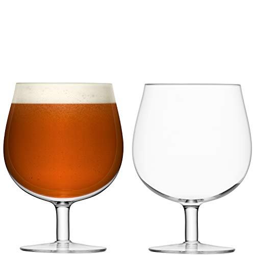 LSA International Copas de Cerveza artesanales, Cristal, Transparentes, 550ml, Juego de 2