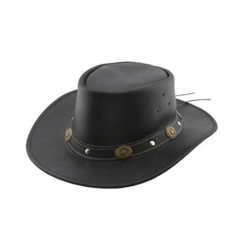 Black Jungle Reedley Lederhut - Klassischer Westernhut, Cowboyhut Braun Größe S-XL (L, Schwarz)