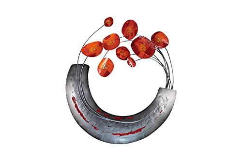 Kunstloft Extravagante Escultura de Pared de Metal Amapolas en Flor' 62x70x7cm | Decoración XXL Metal Arte | Abstracto jarrón Flores Gris Rojo | Cuadro Hecho a Mano Imagen Mural de Arte Moderno
