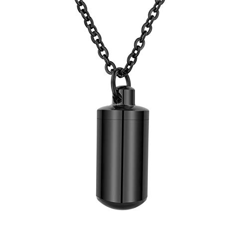 HooAMI[ホーアムアイ] メモリアルペンダント 遺骨カプセル シリコンパッキン付 ステンレス レディース メンズ ジュエリー ブラック-2.7cmx1.1cm