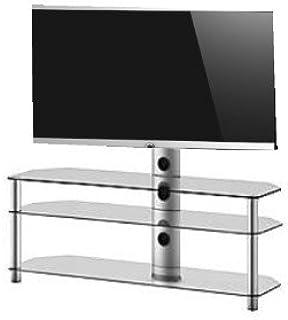 RO&CO - Mueble TV. Ancho 130 cms, 3 estantes y Soporte de TV. Vidrio Transparente/Chasis de Color Gris. Ref. MST-3133 TG: Amazon.es: Electrónica