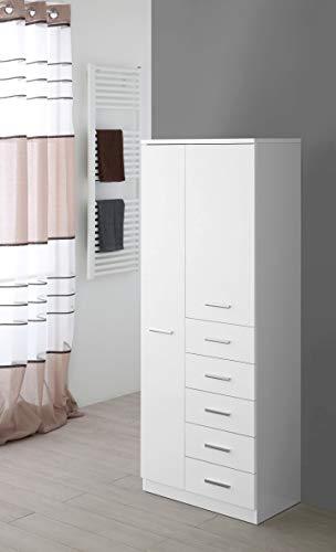 Feridras Stella Colonna Doppia, 2 Ante e 5 Cassetti, Bianco, 34 x 60 x 148.5 cm
