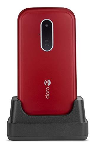 Doro 6620 Téléphone Portable 3G à Clapet Débloqué pour Seniors avec Grandes Touches, Touche d'Assistance avec GPS et Socle Chargeur Inclus (Rouge) [Version Française]