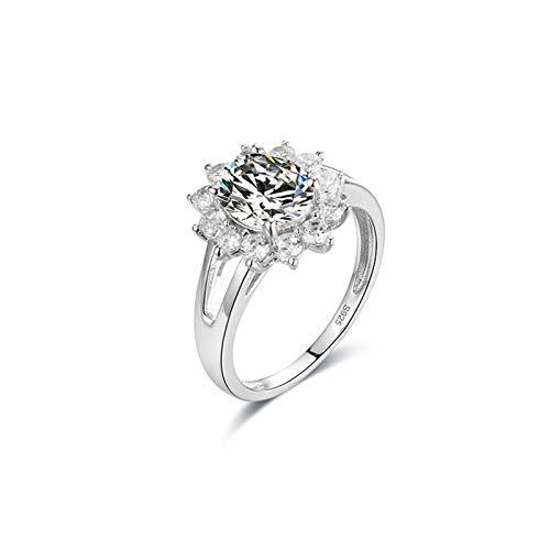Amody Wedding Rings for Women White Gold 14K, Wedding Rings for Women Eternity Flower Shape with Moissanite Size U 1/2