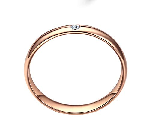 KnBob Women Diamond Ring High Polished Round Shape White Ring for Marriage Engagement Anniversary Birthday 18K Rose Gold Size M 1/2