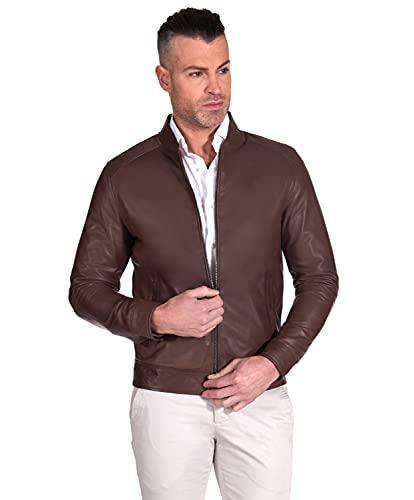 D'Arienzo Chaqueta de piel marrón vintage para hombre, italiana, de piel de cordero, para moto, fabricada en Italia Marlon marrón XL