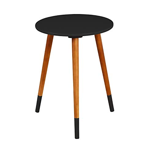Target Marketing Systems Livia Collection Ultra Modern Round End Table With Splayed Leg Finish, Black/Wood