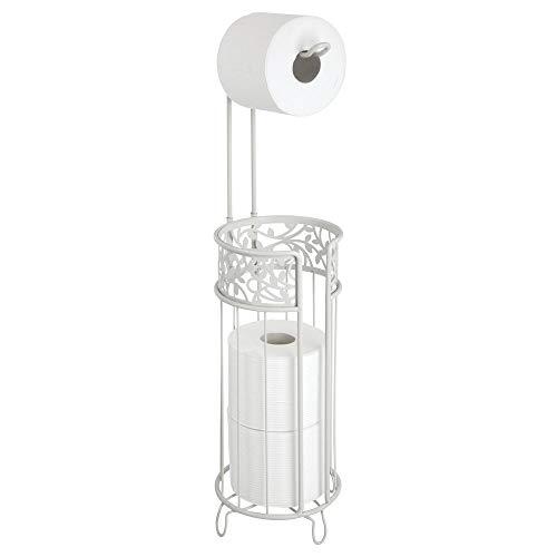 mDesign Toilettenpapierhalter stehend – moderner Papierrollenhalter fürs Badezimmer – Klopapierhalter für mehrere Rollen – mit Halterung für 3 Reserverollen – grau