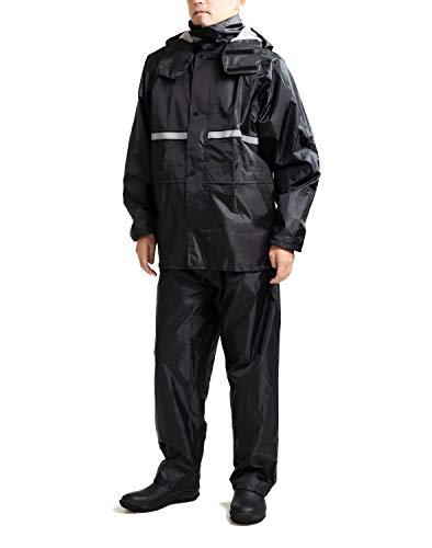 【FUN&FLAG】レインウェアレインスーツレインコート通学通勤上下セット男女兼用カッパ3色(Black,L)