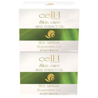 cell-1 Gel 2er SET 2x 50ml | Original Premium Hautpflege mit Schneckenextrakt | reichhaltige Pflege für jeden Hauttyp | effektiv gegen Falten, Pickel, Flecken, Narben und Dehnungsstreifen