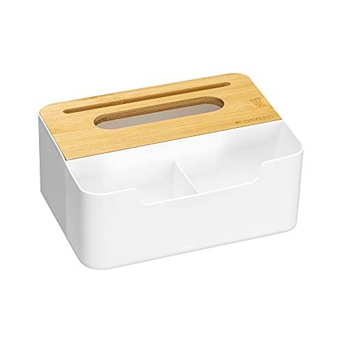 Navaris Caja de pañuelos de Papel - Dispensador con Organizador de Mesa multifunción - Caja con Tapa de bambú y Soporte para mandos de TV móvil