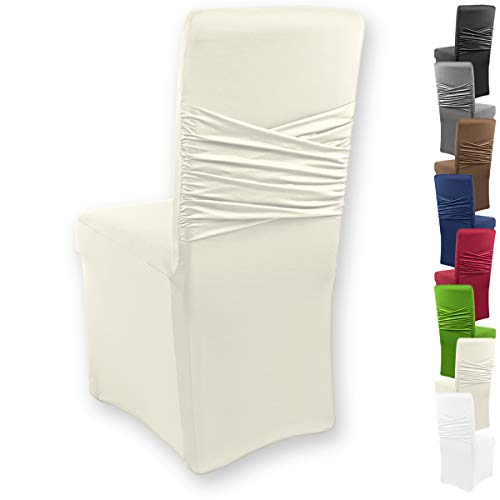 """Gräfenstayn® Funda para sillas elásticas Victoria - respaldos Redondos y angulares - Ajuste bi-elástico con Junta Oeko-Tex Standard 100:""""Confianza verificada (Crema)"""
