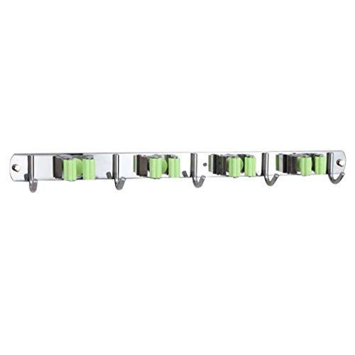 DOITOOL Portascope da Muro in acciaio inossidabile Portascopa e Portaspazzole Da Muro Supporto Per Scopa e Spazzolone Porta Scope con gancio de Parete per manico rastrello (4 ripiani,5 ganci)