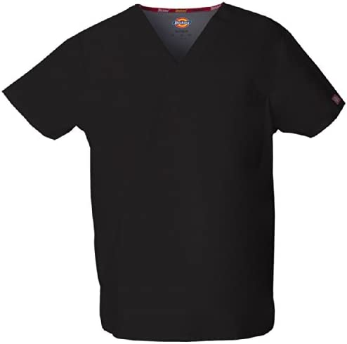 Dickies Men s Big and Tall Signature V Neck Scrubs Shirt Black XXX Large product image