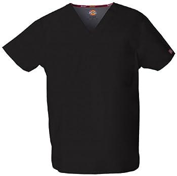 Dickies Men s Signature V-Neck Scrubs Shirt Black X-Large