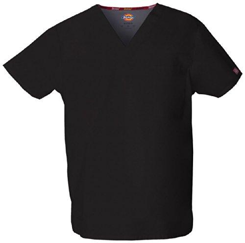 Dickies Men's Signature V-Neck Scrubs Shirt, Black, Large