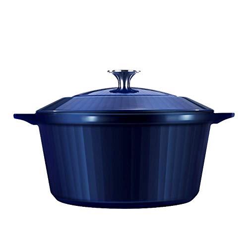 24 cm hoge kwaliteit geëmailleerde gietijzeren pan, inductie en oven Koekenpan of Braadpan en Glas deksel-Blauw
