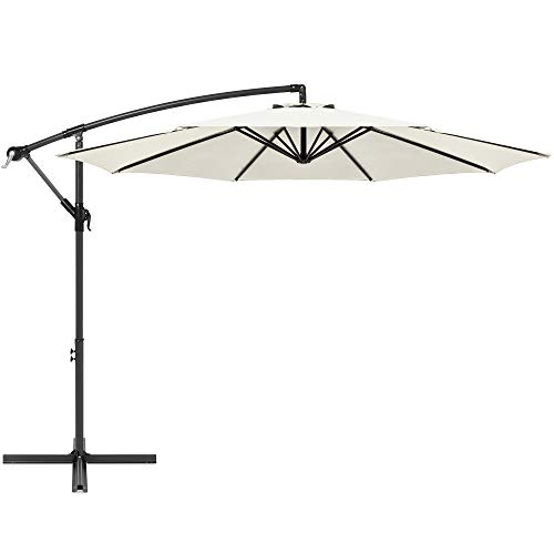 Best Choice Products 10ft Offset Hanging Market Patio Umbrella w/Easy Tilt Adjustment, Polyester Shade, 8 Ribs for Backyard, Poolside, Lawn and Garden - Cream
