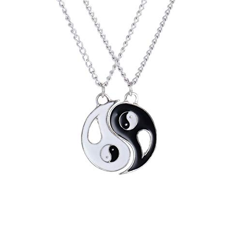 Yin Yang Schlüsselanhänger,Edelstahl Ying Yang Männer Kette,Ying Yang Kette für 2,Freundschaftsketten mit Gravur für 2,Tai Chi Anhänger,Yin Yang Halskette,Puzzle-Anhänger