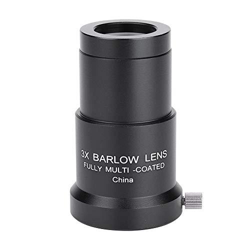 3X 1,25-Zoll-Barlow-Linse, vollständig mehrschichtige optische Linse Hochdurchlässige Barlow-Linse mit Vollvergütung, Astronomieteleskop-Okular-Barlow-Linse