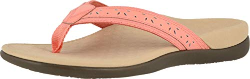 Vionic Women's Casandra Toe-Post Sandal - Ladies Everyday Sandals with Concealed Orthotic Arch Support Coral 5 Medium US