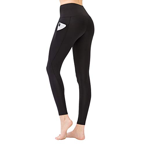 LOS OJOS Yoga Pants with Pockets – High Waist Tummy Control Workout Leggings for Women Black