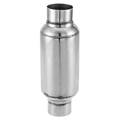 Without brand XW-Silencer, 2,5-Zoll-Inlet Universal-Resonator/Leistung Schalldämpfer Edelstahl 11,5 Zoll (Color : Silver)