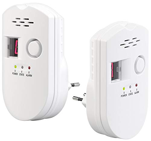 VisorTech Gasmelder Propan: 2er-Set Steckdosen-Multi-Gasmelder für Erdgas und Autogas, 85 dB (Gas-Warnmelder)