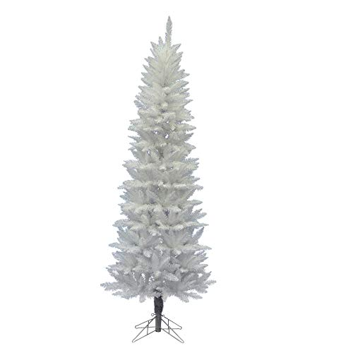 Vickerman Sparkle White Spruce Pencil Tree with 392 Tips Unlit, 6-Feet by 29-Inch
