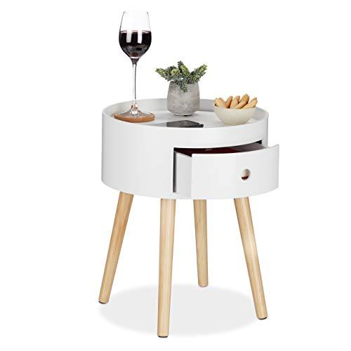 Relaxdays Beistelltisch rund, Schublade, Holzbeine, skandinavisches Design, minimalistisch, HxD 46 x 38 cm, weiß/Natur, 1 Stück