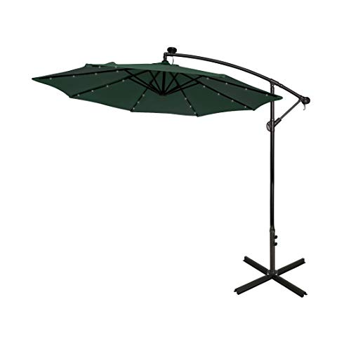 WestinTrends 10 Ft Outdoor Patio Solar LED Cantilever Umbrella, Dark Green