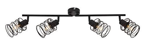 Briloner Leuchten Spotleuchte, Deckenspot 4-flammig, Deckenlampe retro, vintage, Strahler dreh-und schwenkbar, Black Steel, 4xE14, max. 40 Watt, Metall, Schwarz 2870-045