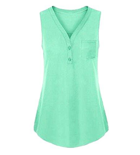Camiseta Mujer Chaleco sin Mangas Tank Tops para Mujeres,Verano Sexy Deporte Casual Blusas Tops Vest T Shirt Fiesta en la Playa para Mujeres Chica Joven 5XL Verde