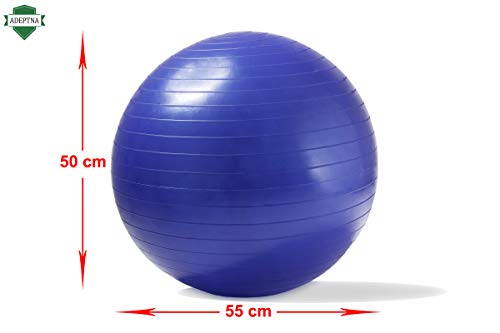 ADEPTNA Anti-Burst Gym Ball 55cm- Exercise Yoga Swiss Core Fitness core strength training, stretching, toning, resistance With Hand-pump included (BLUE)