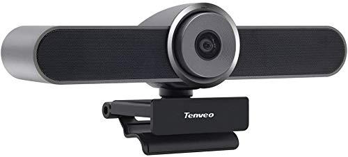 Tenveo VA4K 4K Ultra HD webcam con altavoz y micrófono, cámara de gran angular de 124 grados para videoconferencias Skype/Zoom y transmisión en vivo YouTube/Twitch/OBS