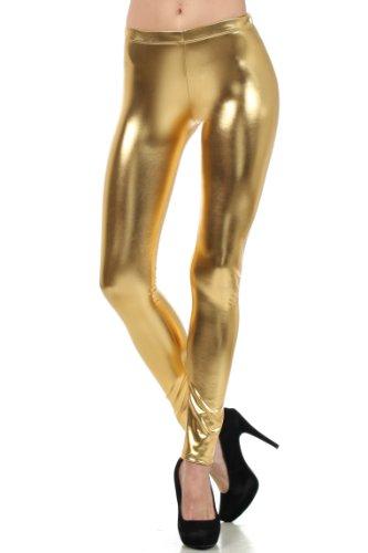 Sakkas Liquid111 Footless Flüssigkeit Wet Look Shiny Metallic Stretch Leggings - Gold/Medium