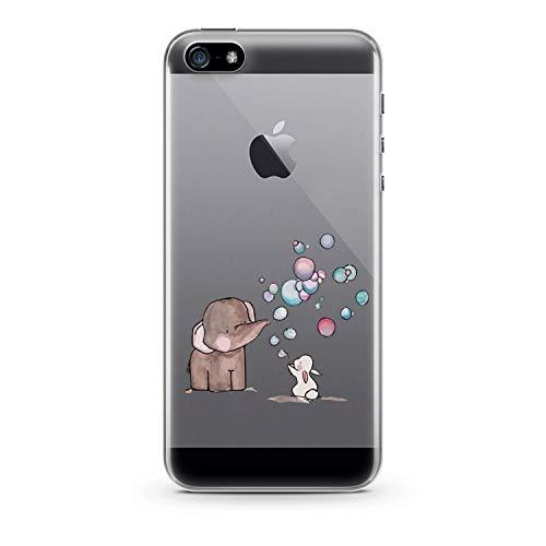 finoo | iPhone SE Hard Case Handy-Hülle mit Motiv | dünne stoßfeste Schutz-Cover Tasche in Premium Qualität | Premium Case für Dein Smartphone| Elefant Hase Seifenblasen