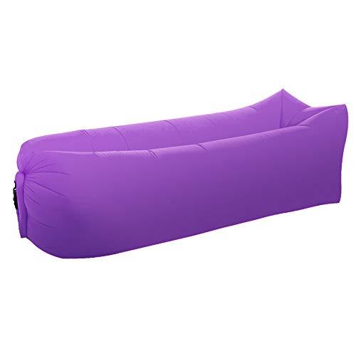 Opblaasbaar strandbed buiten, draagbaar, waterdicht, lekvrij, snel inklapbaar, opblaasbare bank (roze)