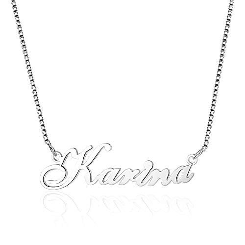 Bo&Pao individuelle Skript Namenskette 925 Sterling Silber mit einem Wunschname